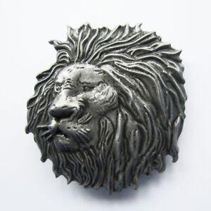 Distressed Lion Head Belt Buckle
