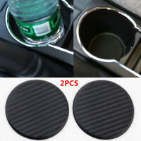 2Pcs Carbon Fiber Look Waterproof Auto Car Water Cup Slot Silicone Non-Slip Mats
