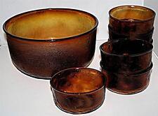 DEEP VINTAGE RETRO AMBER BROWN ROUGH GLASS SUNDAE FRUIT ICE CREAM DISH BOWL