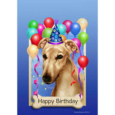 Greyhound Cream Happy Birthday Flag