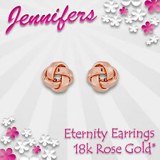 NEW Rose Gold Eternity Knot Earrings Stud 18c Cute Small Studs Earring Jewellery