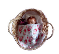 Tiny 1.5'' OOAK handmade dolls house baby doll,  basket, bedding + teddy, 1:12