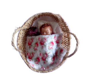 Tiny 1.5'' OOAK  hand made dolls house baby doll,  basket, bedding + teddy, 1:12