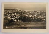 Ventura CA California Postcard Real Photo RPPC Birds eye View Street Scene