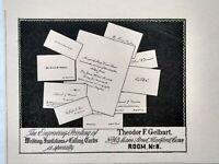 1899 Theodor F. Gelbart Hartford Connecticut Engraver Printer Vtg Print Ad