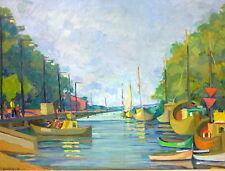 Gemälde Bild Hafen signiert F. Baracz um 1925