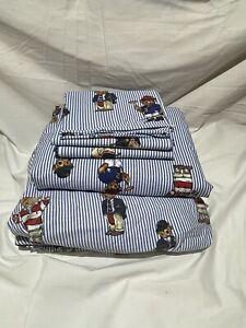 Vintage Ralph Lauren Polo Bear 4 Pcs Full Sheet Set 2 Sheets And 2 Pillow Cases