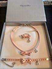 Christian Dior Vintage Rare Matching Gift Set Pink Bow Necklace, Bracelet, Ring