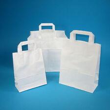 250 Papiertragetaschen Papiertüten Tragetaschen aus Papier weiß 32+17x42cm