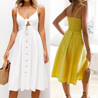 Women Holiday Bowknot Lace Up Ladies Summer Beach Buttons Elegant Party Dress UK