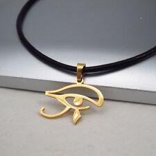 Oro Acciaio Egiziano Egizio Egitto Occhio Pendente Collana in Pelle Nero