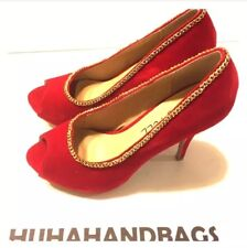 Red Kiss And tell Gold chains  Peep Toe Pumps size 8.5