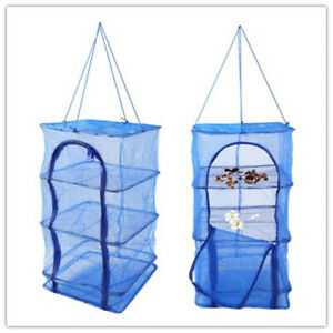 4 Layers Zipper Fish Hanging Net Folding Rack For Drying Vegetables Meat Two-way