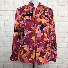 Nina McLemore Stretch Cotton Open Jacket Size 8 Red Purple Leaf Print