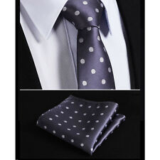 Mens Grey White Polka Dot Silk Tie & Handkerchief Woven Jacquard Necktie Wedding
