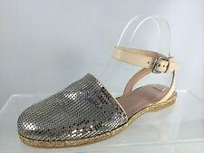 New Stuart Weitzman Womens Beige/silver Flats Shoes 37.5
