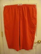 Womans Only Necessities Orange Elastic Waist Linen/Rayon Stretch Capri's Siz 30W