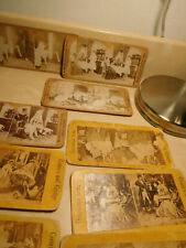 9 Vtg STEREOVIEW CARDS risque comic mice ladies bloomers hoop skirts