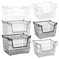 Stackable Metal Wire Storage Basket Nesting Boxes Food Vegetable Kitchen Shelves