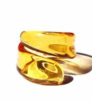 Amber color,Cocktail Italy style  ring. Free USA shipping.