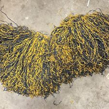 Large Authentic Vintage Raffia Cheerleader Pom Poms Blue Gold Yellow Handles
