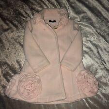 Kate Mack Pink Coat & Beret Hat Jacket Long Warm Cute 3D Rose Flowers Age 2 24M