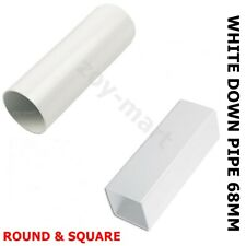 Rainwater Downpipe 1 Metre Lengths WHITE Square or Round 68mm Pipe *FAST DEL*