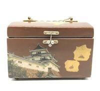 Vintage Japanese Jewelry Trinket Box. Hinged 1970s Brown RARE
