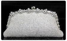 Silver Crystal Evening bag Wedding Bridal Party Prom Clutch Purse Wallet Handbag