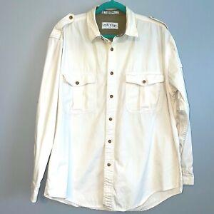 EUC Orvis Button Down Shirt Cream Long Sleeve Outdoor Shoulder Strap Men's Large