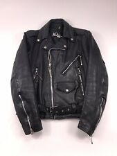 NIKI Genuine Leather Jacket Black 34 vtg 80s made in USA Spoons medium