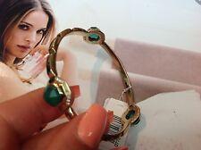 Melinda Maria Faceted Green Onyx,Clear Crystal Bangle Bracelet 14k Gold Filled.