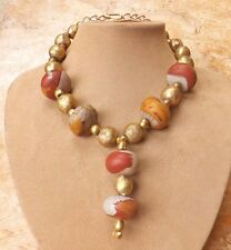 African Carved Gold Beads MOUKAITE MOOKAITE NECKLACE YELLOW BERRY GREY JEWELRY