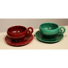 Vintage 20th Frence Original Pair of Vallauris Earthenware Cups & Saucers Marked