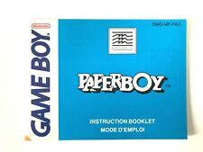 Notice jeu Nintendo Game Boy Paperboy GB PAL FAH No Game Sans jeu