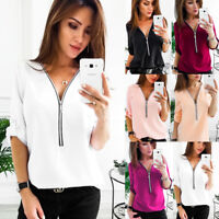 Lot  Fashion Womens Long Sleeve Loose Blouse Casual Shirt Summer Chiffon T-Shirt