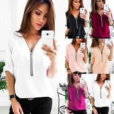 2018 Fashion Womens Long Sleeve Loose Blouse Casual Shirt Summer Chiffon T-Shirt