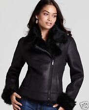 NEW! NWT Calvin Klein Faux Shearling Asymmetric Zipper Moto Jacket Black Size 0X