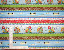 Frog Toad Toadstool Fly Border Stripe Cotton Fabric QT Its a Pond Party - Yard