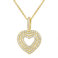3 Row Heart Pendant 14k Gold Finish Simulated Diamond 925 Silver 18 Inch Chain