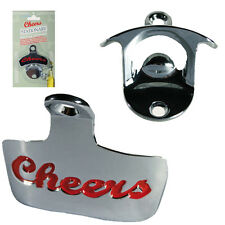 Wall Mounted Bottle Opener Cheers Bar Pub Home Kitchen Beer Larger Metal Fixings