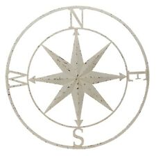"Barn Star with Compass White Distressed Shabby Chic Nautical Large 30"" Metal"