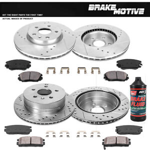 Front+Rear Drill Slot Brake Rotors And Ceramic Pads For Chevy Equinox Terrain