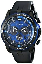 Citizen CA4155-12L Men's Eco-Drive Ecosphere PU Band Blue Dial Chronograph Watch