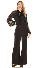 New Free People Smoke Rings Embroidered Puff Sleeve Sheer Black Jumpsuit S 0