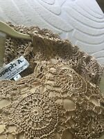 JOSEPH Abboud Crochet Boho Lace Blouse Shirt Top Women's Gold Size Small Petite