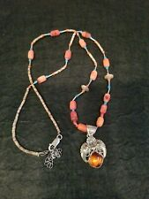 Stones & Amber Necklace 28� Sterling Estate Vintage Red Coral W/ Tiny Turquoise