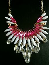 PINK CRYSTAL NECKLACE CLEAR CRYSTALS WEDDING PROM BIRTHDAY MOTHERS DAY 661