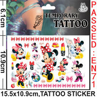 Girls Kids Temporary Tattoos Sticker Minnie Mouse Body Art Removable Waterproof