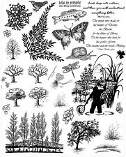 Unmounted Rubber Stamp Sheets, Trees, Nature, Scenic Stamps, Quotes, Fishing
